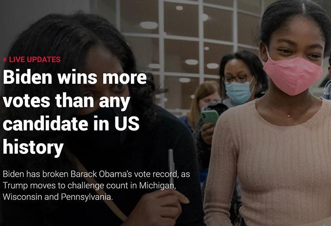 Joe Biden headed for narrow victory in US presidential election
