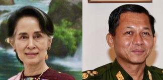 San Suu Kyi (left) & coup leader Min Aung Hlaing