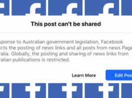 Auastralian FB news ban
