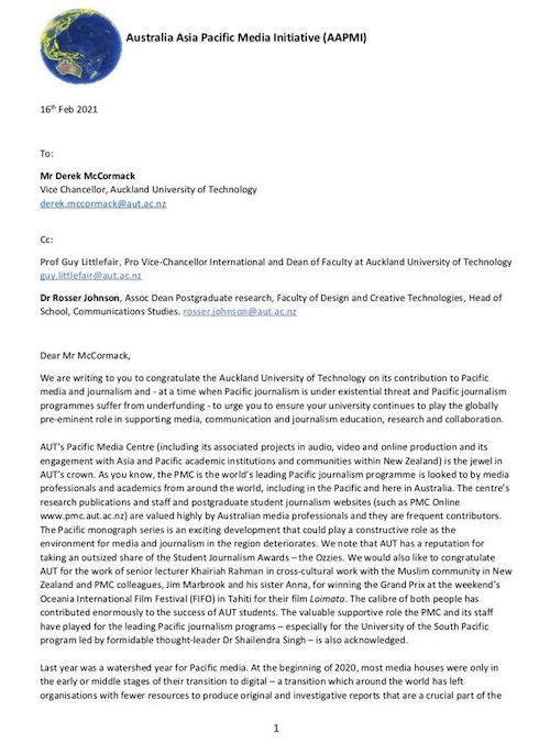 AAPMI letter to AUT