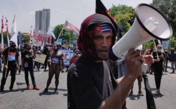 Papuan protesters in Malang