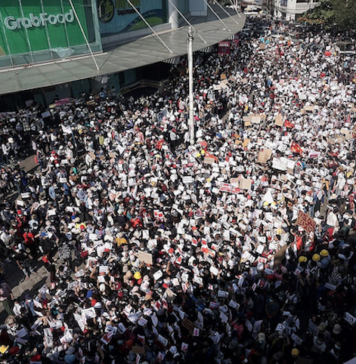Yangon protest against the Myanmar coup 9 Feb 2021