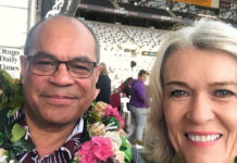 Aupito William Sio (left) and Labour Party MP for Taieri Ingrid Leary
