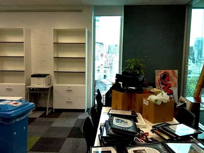 The Pacific Media Centre office ... stripped
