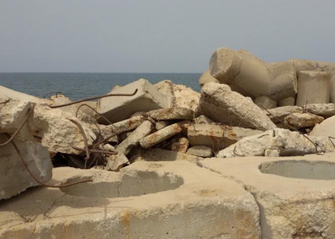 Reclaimed rubble sea wall, Gaza - Marilyn Garson
