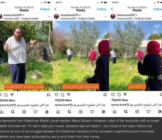 Screenshots from Palestinian Sheikh Jarrah resident Mona ElKurd's Instagram video