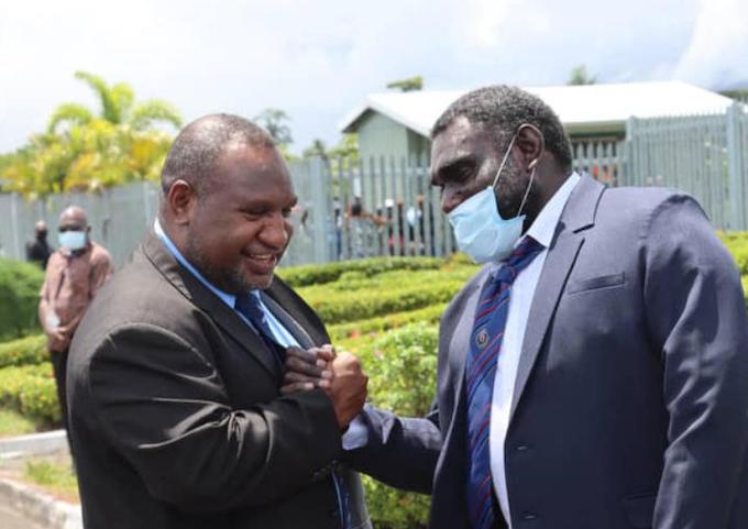 PNG's James Marape (left) and Bougainville's Ishmael Toroama