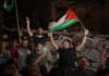 Palestians celebrate the Gaza truce. 200521