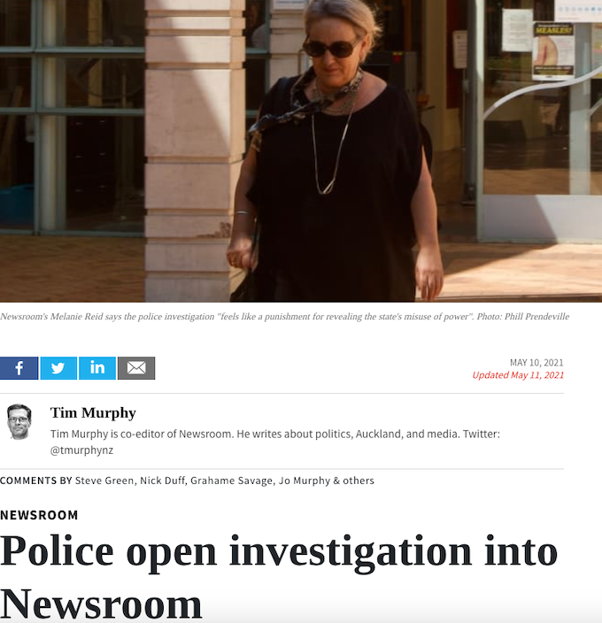 Newsroom subject to a NZ police inquiry