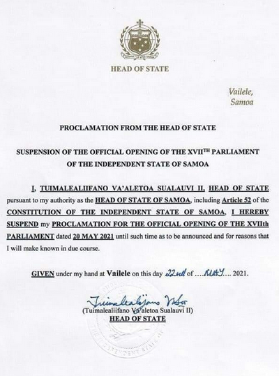 Samoan Head of State's proclamation 22 May 2021