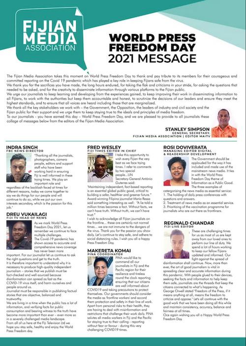 Stanley Simpson's press freedom message 2021