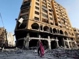 The damaged Al Jawhara Tower in Gaza City