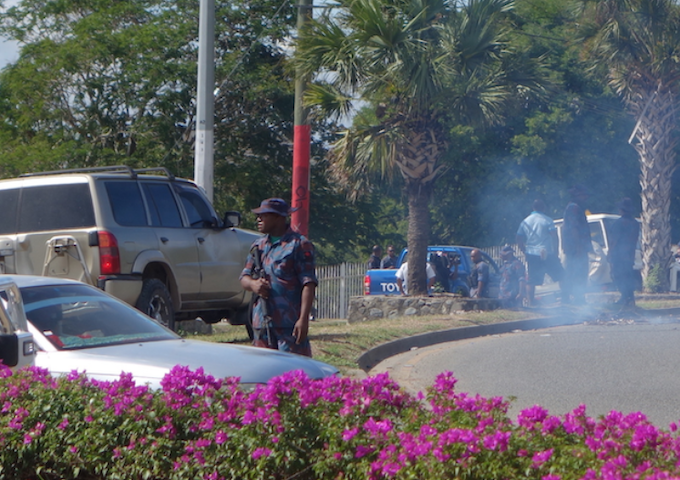 Police at UPNG in 2016 shooting