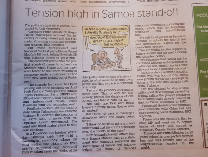 Tension high in Samoa stand-off