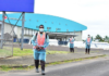 Security officers at Fiji's FEMAT field hospital