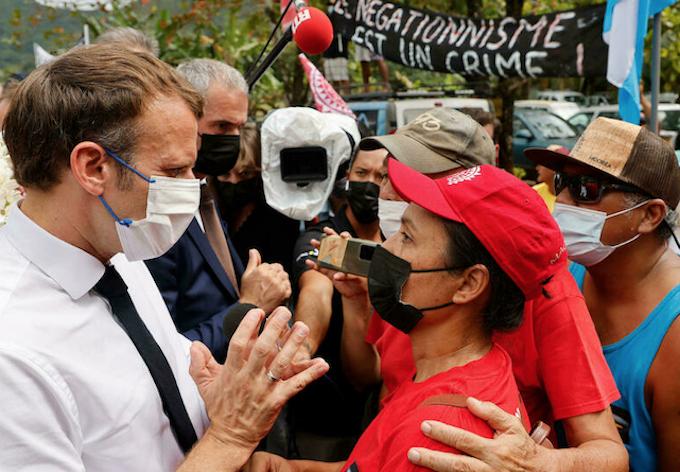 French President Emmanuel Macron in Tahiti