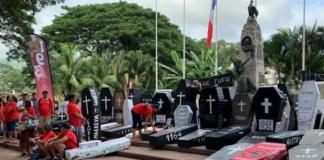 "Tahitian nuclear mock ""coffin"" demo 010721"