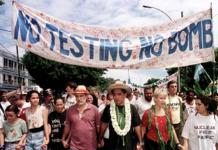 Oscar Temaru leads anti-nuclear tests