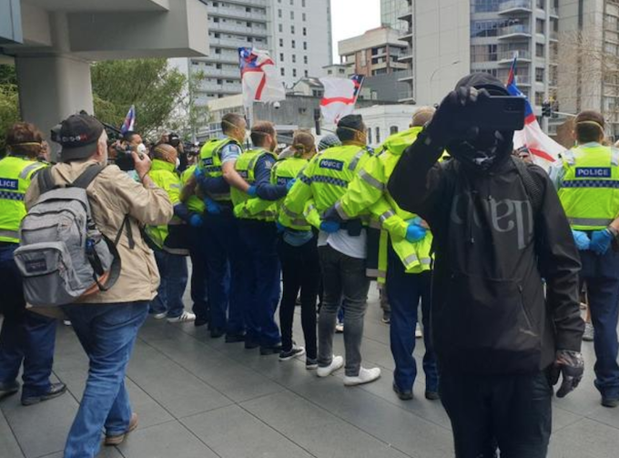 Conspuracy rally in Auckland 180821