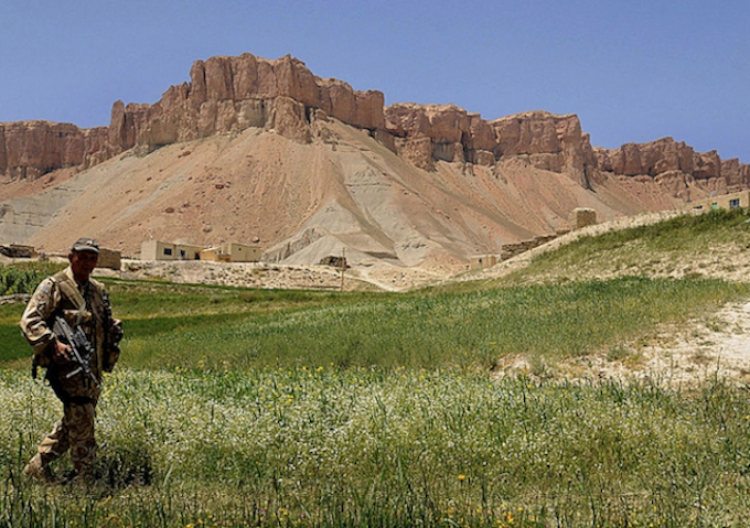A New Zealand soldier on patrol in Bamiyan Province