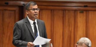 Opposition NFP Leader Professor Biman Prasad speaking in Fiji Parliament