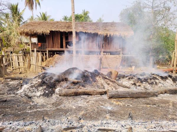 Burnt rice stores in Myanmar