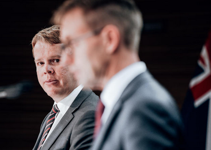 Chris Hipkins (left) and Dr Ashley Bloomfield