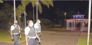 French police on patrol in Noumea's central Place des Cocotiers