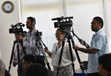News conference in Fiji