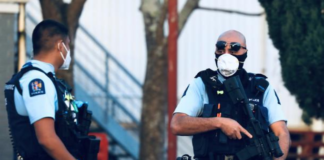 Armed New Zealand police at LynnMall