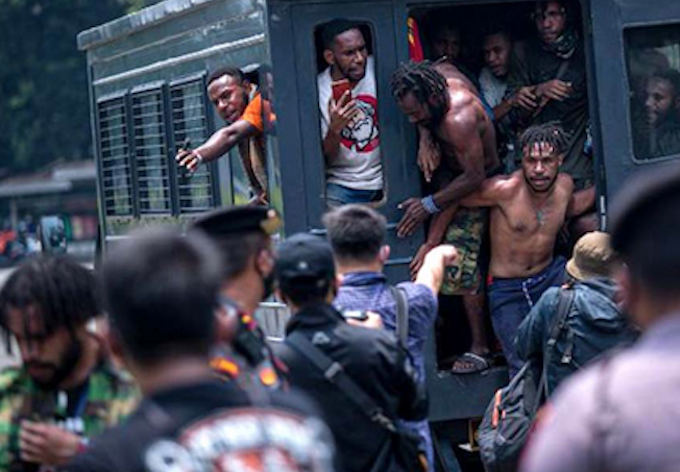 Arrested Papuan activists in Jakarta 300921