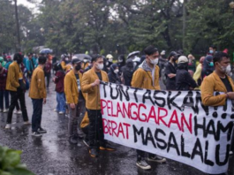A student protest in central Jakarta
